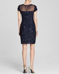 Adrianna Papell - Blue Dress Cap Sleeve Illusion Neck Sequin Sheath - Lyst
