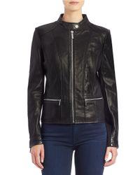 MICHAEL Michael Kors | Black Leather Moto Jacket | Lyst