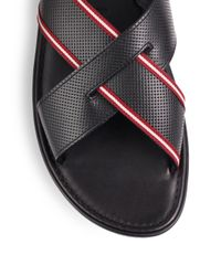 Bally - Black Darlie Perforated Slipon Sandals for Men - Lyst