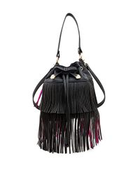 Betsey Johnson | Black Fringed Faux Leather Bucket Bag | Lyst