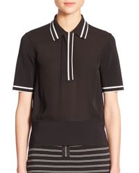 Rag & Bone   Black Dana Striped Silk Polo Shirt   Lyst