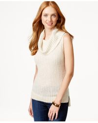 DKNY - Brown Sleeveless Ribbed Turtleneck Sweater - Lyst