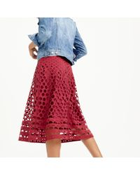 J.Crew - Red Perforated Eyelet A-line Skirt - Lyst