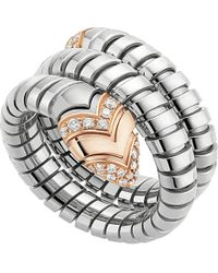 BVLGARI - Gray Serpenti Tubogas 18kt Pink-gold, Diamond And Stainless Steel Ring - Lyst