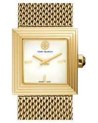 Tory Burch | Metallic 'sawyer' Square Mesh Strap Watch | Lyst