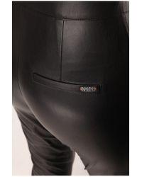 BOSS Orange Black Biker Trousers In Leather-effect 'siloka'