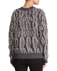 MILLY - Gray Textured Merino Wool Sweater - Lyst