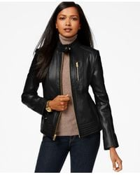 Michael Kors | Black Michael Stand-collar Leather Jacket | Lyst