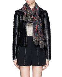 Franco Ferrari - Black Floral Tweedscape Wool-cashmere Scarf - Lyst