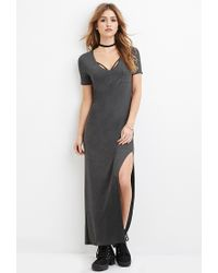 Forever 21 | Gray V-neck Maxi Dress You've Been Added To The Waitlist | Lyst