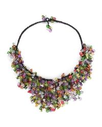 Aeravida | Handmade Multicolor Glass Waterfall Bib Necklace | Lyst