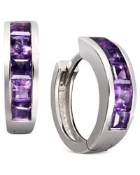 Macy's - Metallic Sterling Silver Earrings, Amethyst Hoop Earrings (1-1/2 Ct. T.w.) - Lyst