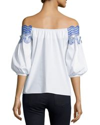 Peter Pilotto - White Embroidered Off-the-shoulder Top - Lyst