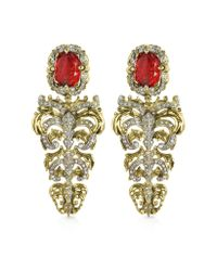 Roberto Cavalli - Metallic Renaissance Light Gold Tone Metal And Ruby Clip On Earrings - Lyst