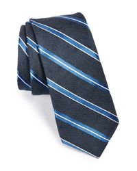 W.r.k. - Black Stripe Linen & Silk Tie for Men - Lyst