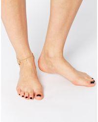 ASOS | Metallic Traveller Charm Anklet | Lyst