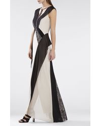 BCBGMAXAZRIA - Gray Jenelle Color-blocked Lace Contrast Gown - Lyst