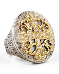 Konstantino | Metallic Classic Diamond Pave Large Oval Cross Ring | Lyst