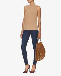 Exclusive For Intermix - Natural Mock Neck Ribbed Knit - Lyst