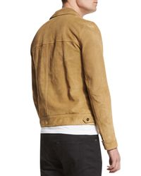 Saint Laurent - Natural Button-down Suede Jacket for Men - Lyst