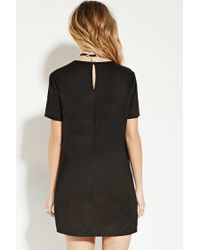 Forever 21 - Black Embroidered Faux Suede Dress You've Been Added To The Waitlist - Lyst