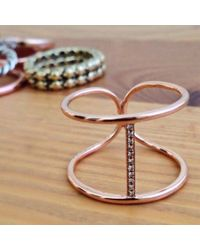 Anne Sisteron | Pink 14kt Rose Gold Diamond Bridge Ring | Lyst