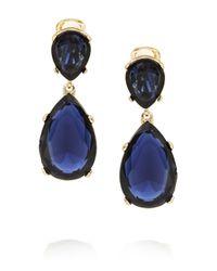 Kenneth Jay Lane - Blue Gold-tone Crystal Clip Earrings - Lyst