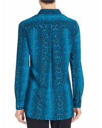 Ellen Tracy | Blue Snake-print Boyfriend Shirt | Lyst