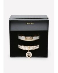 Bebe - Metallic Logo Hinge Bangle Set - Lyst