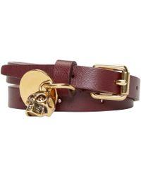 Alexander McQueen - Purple Burgundy Double-wrap Leather Bracelet - Lyst