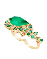 Stephen Webster | Green Gold Struck Crystal Haze Two Finger Ring | Lyst