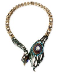 Betsey Johnson | Brass-Tone Multicolor Peacock Frontal Necklace | Lyst