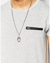 ASOS - Metallic Shark Mouth Necklace for Men - Lyst
