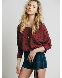 Free People - Red Womens Simply Moon Print Top - Lyst