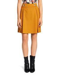 HUGO - Orange Skirt In New-wool Blend: 'rima' - Lyst