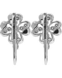 Kojis | Metallic White Gold Floral Diamond Drop Earrings | Lyst