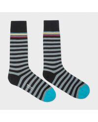 Paul Smith | Men's Multi-stripe Trim Grey And Black Stripe Socks for Men | Lyst
