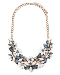 Forever 21 - Blue Faux Gem Flower Necklace - Lyst
