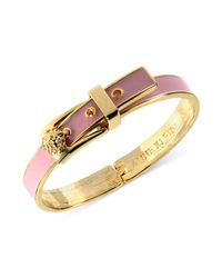 Anne Klein | Gold-Tone Pink Buckle Bangle Bracelet | Lyst
