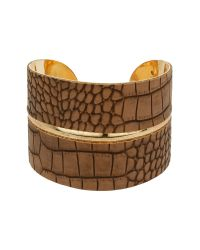 Mikey - Brown Snake Look Curved Cuff - Lyst