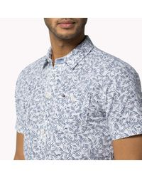 Tommy Hilfiger | Blue Cotton Printed Short Sleeve Shirt for Men | Lyst