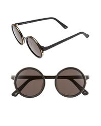 Sunday Somewhere | Black 'soleil' 50mm Round Sunglasses | Lyst