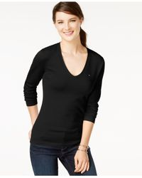 Tommy Hilfiger | Black Long-sleeve V-neck Sweater | Lyst