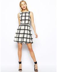 Oasis - Multicolor Grid Print Skater Dress - Lyst