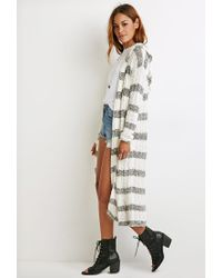 Forever 21 - White Hooded Open-front Cardigan - Lyst