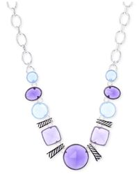 Jones New York | Purple Silver-tone Blue Stone Frontal Necklace | Lyst
