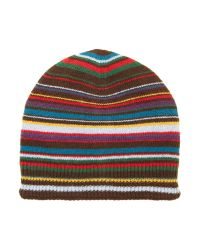 Paul Smith - Black Multistripe Beanie Hat for Men - Lyst