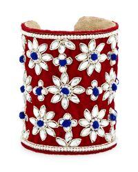 Chamak by Priya Kakkar - Multicolor Velvet Floral Crystal Cuff Bracelet - Lyst