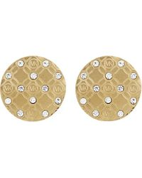 Michael Kors | Metallic Monogram Etched Stud Earrings | Lyst