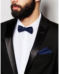ASOS - Bow Tie And Pocket Square In Blue Check 2 Pack for Men - Lyst